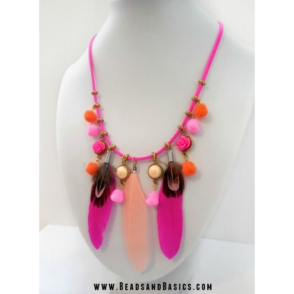 Feathers Chain With PomPoms