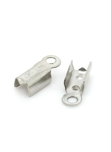 Fold Over Cord End Silver 4x10mm, 20 pieces