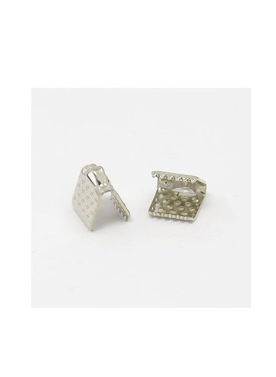 10 pieces Fold Over Cord End Silver Coloured 6x8mm
