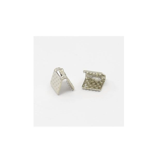 Fold Over Cord End Silver 6x8mm, 10 pieces