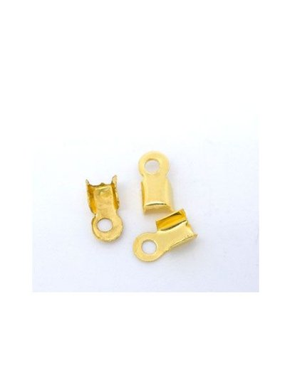 Fold Over Cord End Gold Colour 6x3mm, 30 pieces