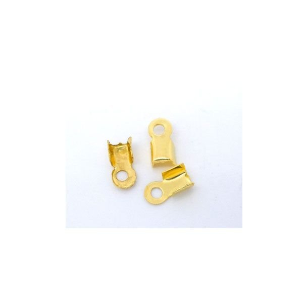 Fold Over Cord End Gold Colour 6x3mm, 20 pieces