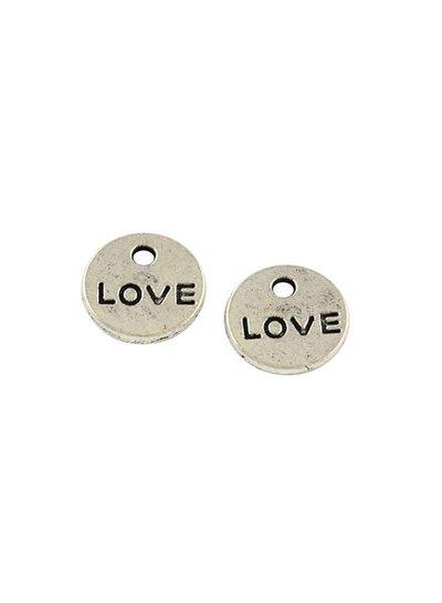 8 stuks Bedel Zilver Love 9mm