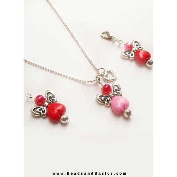 10 pcs Acrylic Beads Pink Heart