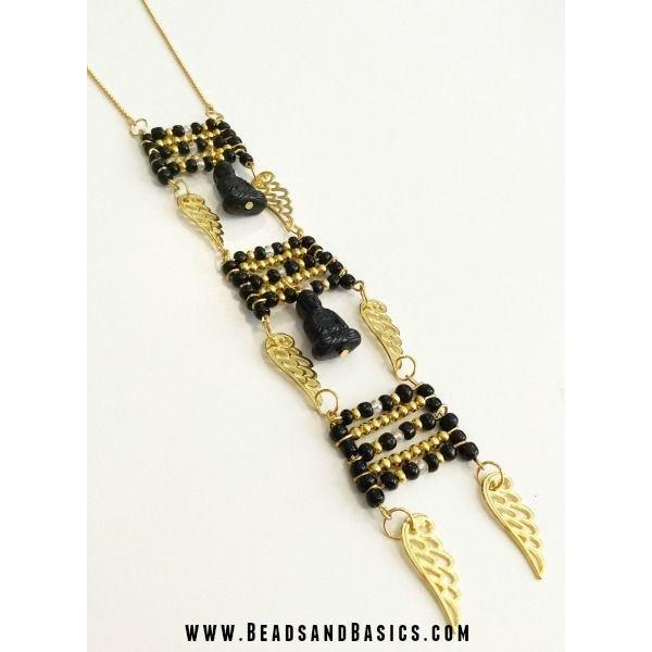 Buddha Black Acrylic Bead 20x13mm, 3 pieces