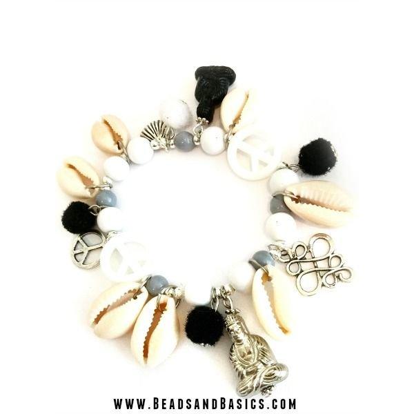 Buddha Armband Zwart Wit Mix