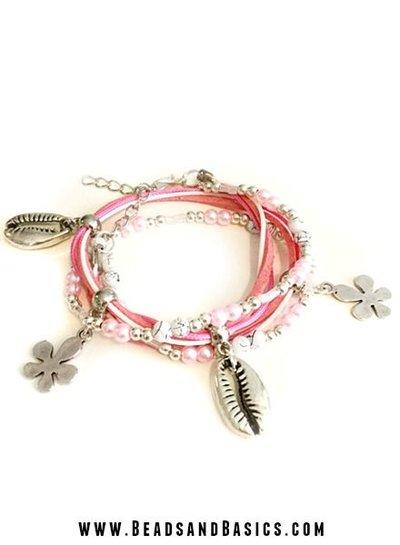 Pink Shells Wrap Bracelet