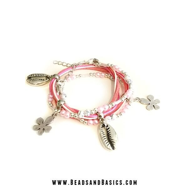 Roze Schelpjes Wikkelarmband