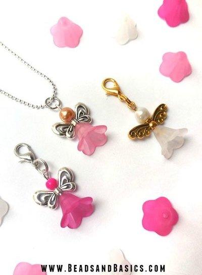 6 pieces Flower Bead White