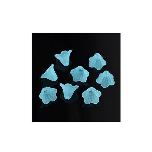 6 pcs Blue Flower Beads 14x10mm