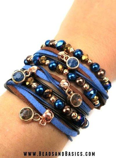 Wrap Bracelet Blue With Brown