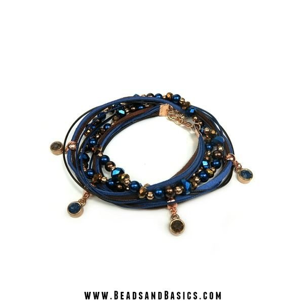 Wrap Bracelet Blue With Brown