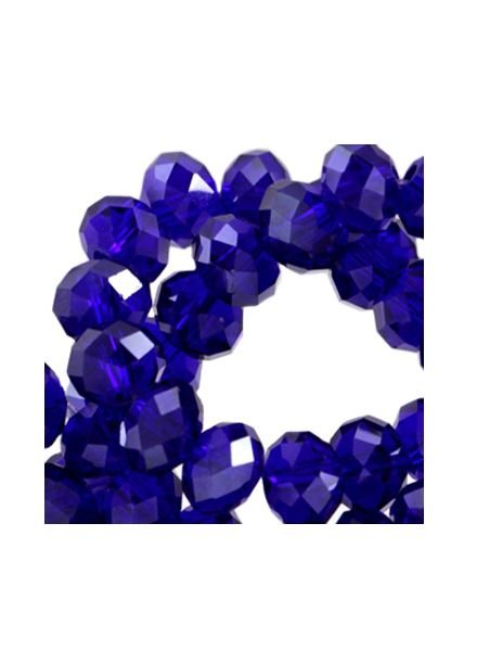 25 stuks Facet Glaskralen Kobalt Blauw 6x4mm
