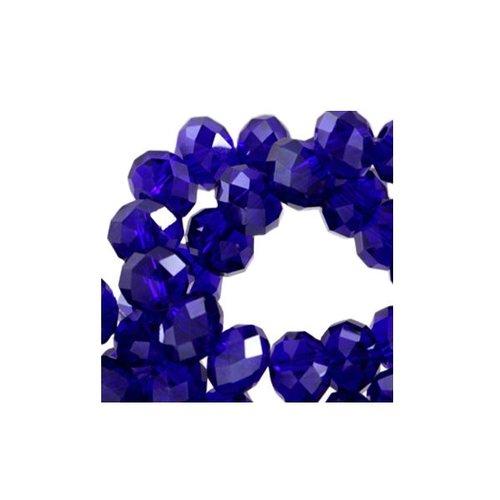 50 stuks Facet Glaskralen Kobalt Blauw 6x4mm