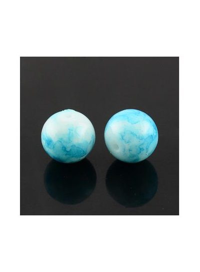30 pcs Glass beads 6mm Blue Sky