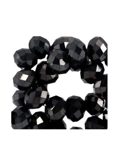 40 pcs Faceted Black Bead Shine 3x2mm