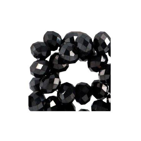 40 stuks Facet Glaskralen Zwart Shine 3x2mm