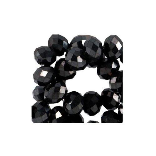 40 pcs Faceted Black Bead Shine 3x2mm