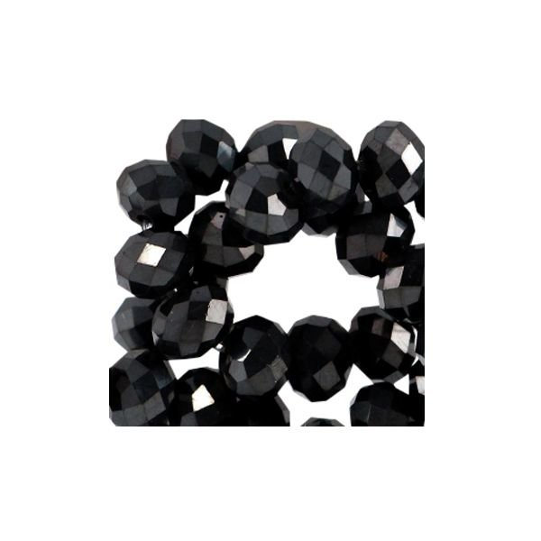 Faceted Glassbeads Black Shine 3x2mm, 80 pieces