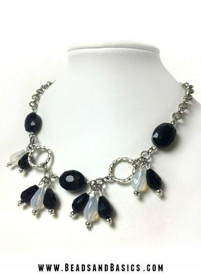 Black White Drop Necklace