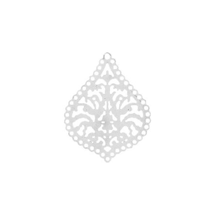 Bohemian Drop Silver Charm 38x30mm, 2 pieces