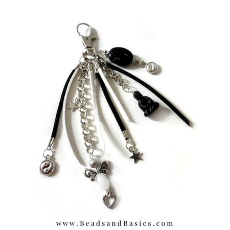Black White Keychain Making With Buddha Charm