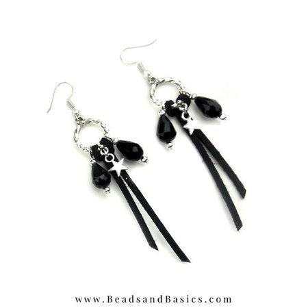 Trendy Making Earrings - Silver With Black