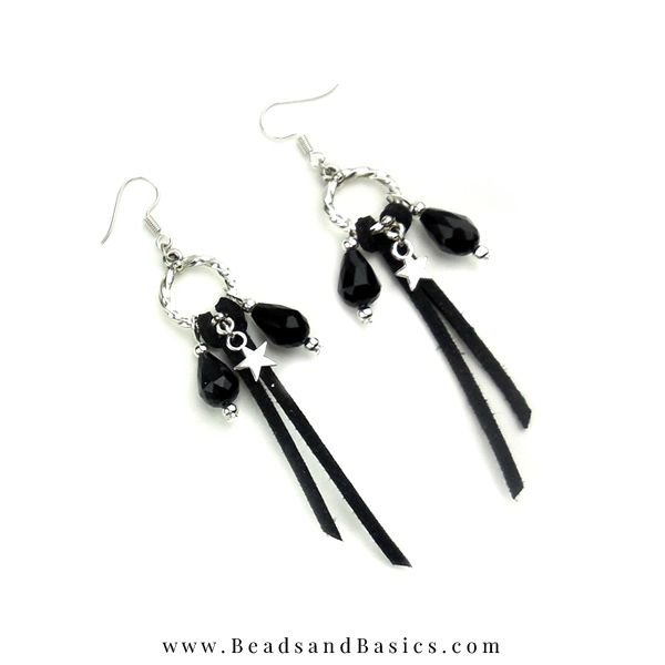 Trendy Making Earrings - Silver With Black