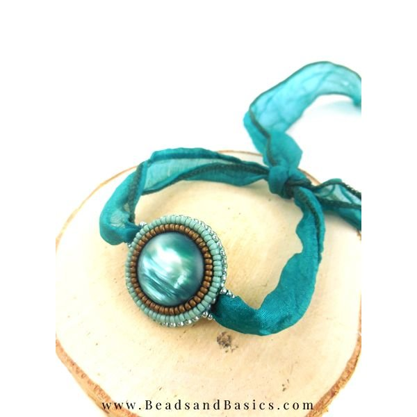 Bead Embroidery Bracelet With - Satin