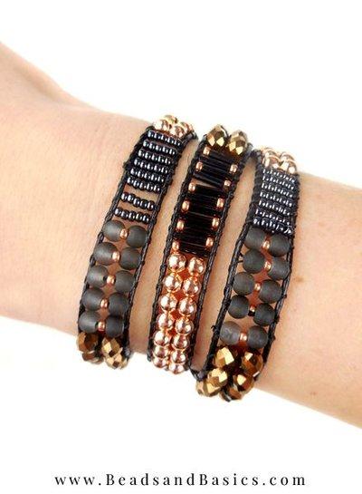 A self Wrap Bracelet Making -Black With Rose Gold