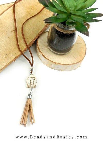 Making himself a Buddha necklace - Boho Style