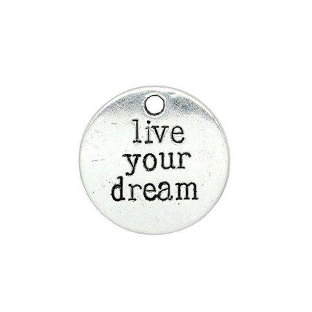 Live Your Dream Bedel Zilver 20mm