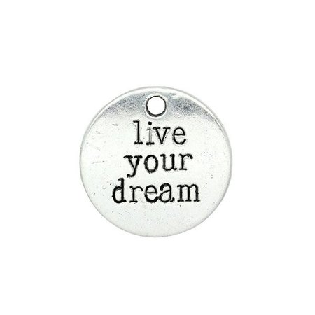 Live Your Dream Silver Charm 20mm