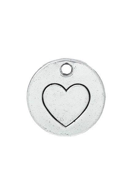 Bedel Zilver met Hart 15mm