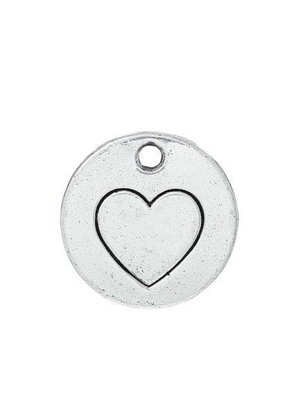 Silver Charm with Heart 15mm