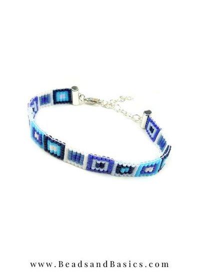 Self Bracelets Making With Miyuki beads - Blue with White
