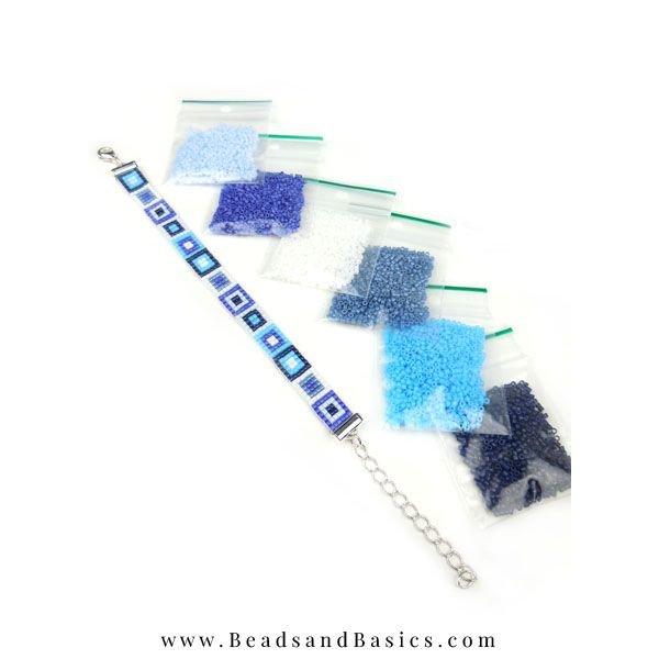 Zelf Weef Armbanden Maken Met Miyuki Kralen - Blauw met Wit
