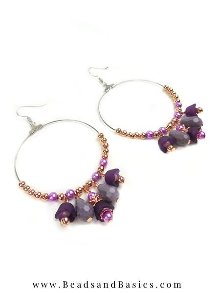 Making yourself Earrings With Flower Bead Purple