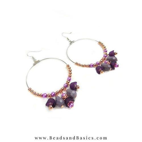 Making yourself Earrings With Flower Bead Purple