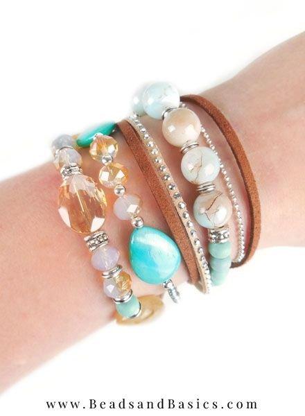 Zelf Een Mooie Armband Maken Met Magneetsluiting - Bruin Met Turkoois