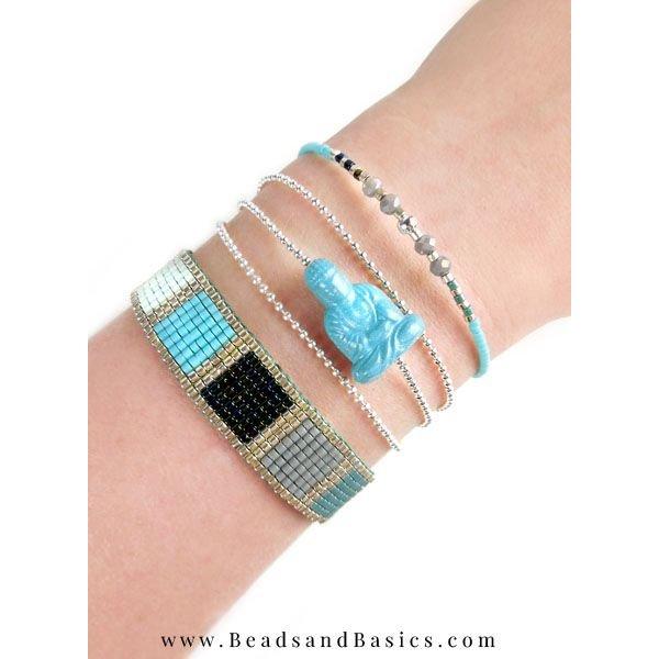 Buddha Aqua Blue Acrylic Bead 20x13mm