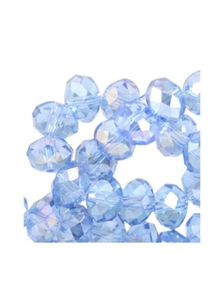 25 pcs Faceted Blue Bead Shine 6x4mm