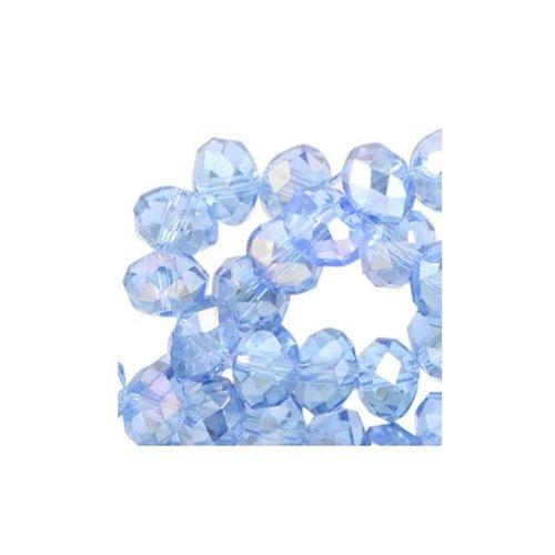 25 stuks Facet Glaskralen Blauw Shine 6x4mm