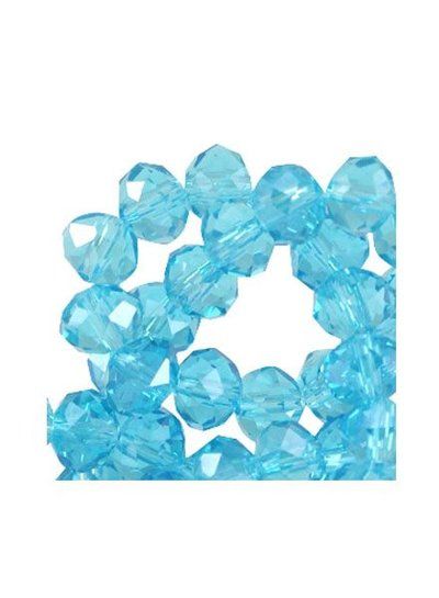 25 pieces Facet Bead Shine Aqua Blue 6x4mm