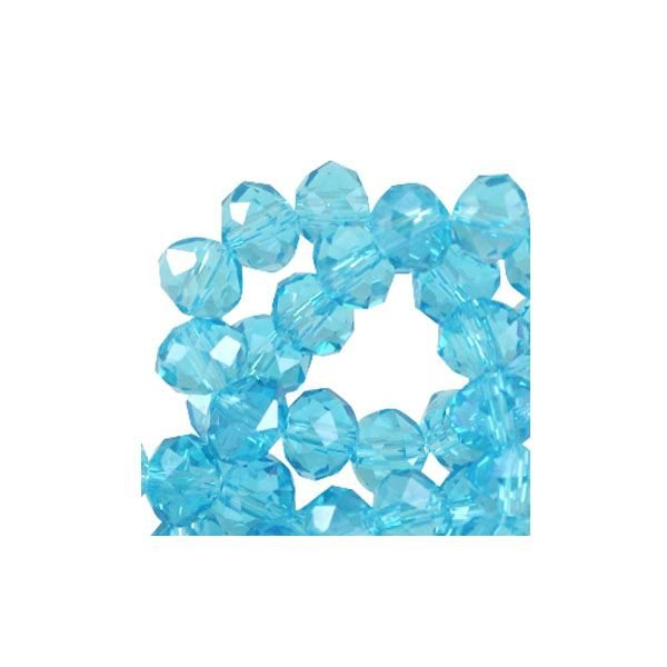 50 pieces Facet Bead Shine Aqua Blue 6x4mm