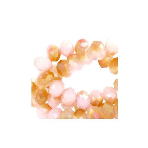 25 pieces Facet Bead Shine Duo Salmon 6x4mm