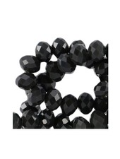 10 pcs Facet Bead Black Shine 8x6mm