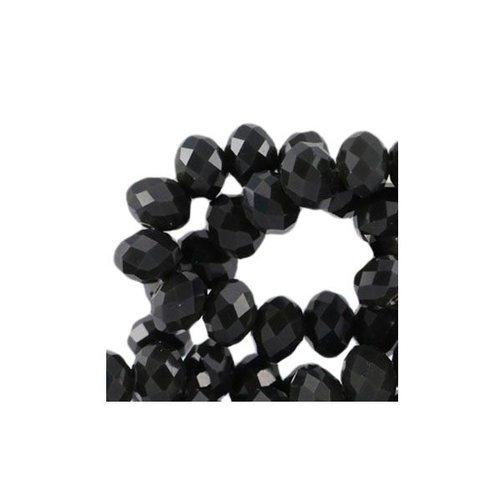 10 stuks Facet Glaskralen Zwart 8x6mm