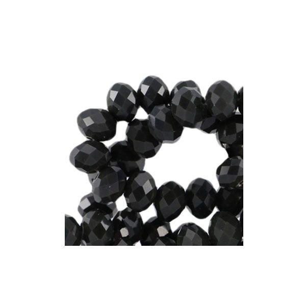 Facet Glaskralen Zwart 8x6mm, 10 stuks