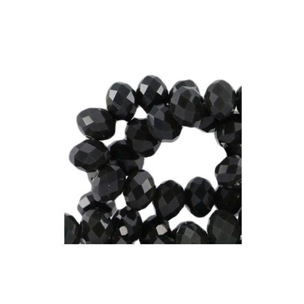 Facet Glaskralen Zwart 8x6mm, 30 stuks